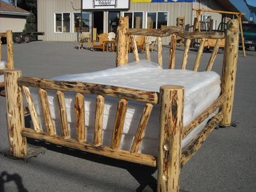Log Sleigh Bed Wagon Wheel