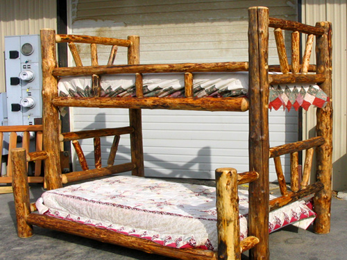 Log beds bedsunique log cabin beds bed frames style house for Log cabin style bunk beds
